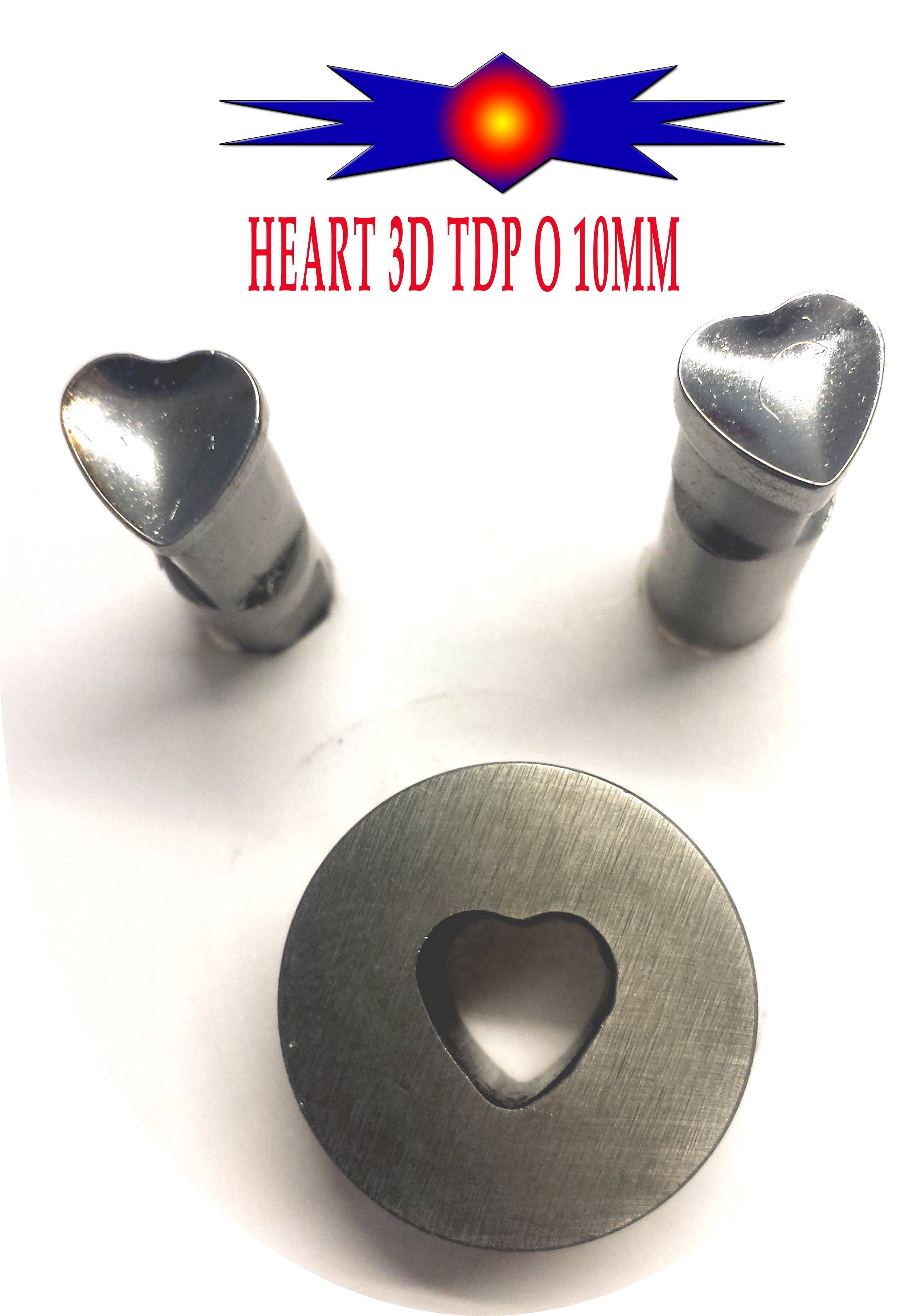 3D Heart Shape TDP-0/1.5 or TDP-5 Punch 10mm
